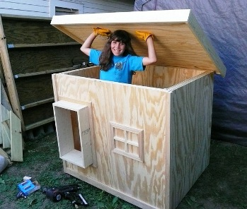 this is hannah from wisconsin who built this beautiful law enforcement dog house for her 4 h project hannah won a blue ribbon at the county fair for her - Beautiful Dog Houses